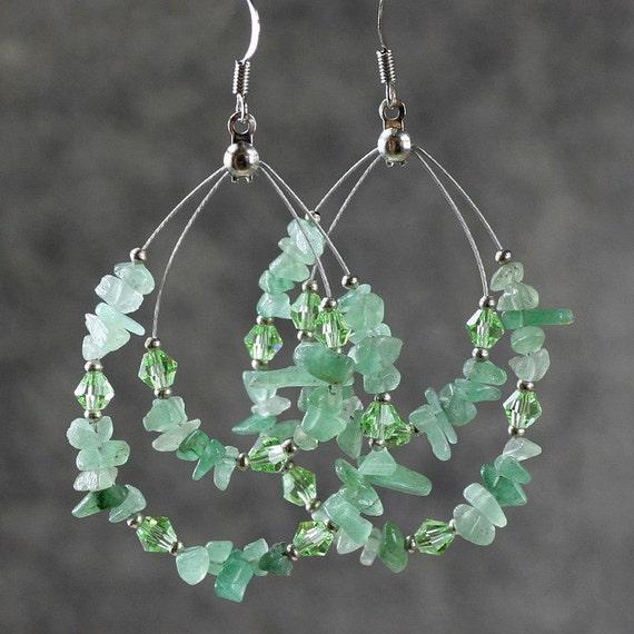 Green Jade Big Tear Drop Hoop Earrings Bridesmaids Gifts Free
