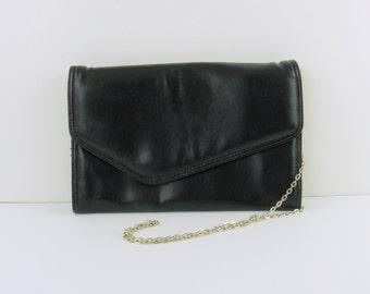 On Sale Vintage 1980s Black Envelope Clutch Purse w/ Long Strap