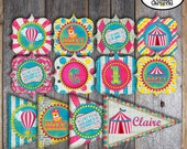 Carnival Party - Circus Party - Complete Collection - Toppers, Banner, Favor Tags & More - Printable - Pink - Blue - Yellow (Girl, Vintage)