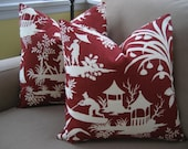 Robert Allen Crystal Lake - Pillow cover - 18x18 inches - Asian - Red and off white - same on both sides