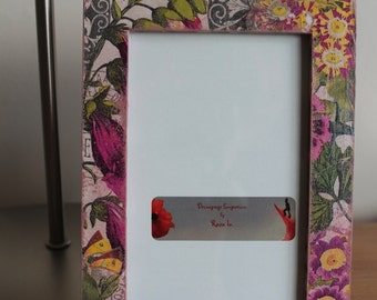 Decoupaged Wooden Shabby Chic Picture Frame Botanical MADE TO ORDER