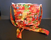 "Handmade Asian Print Purse,  over the shoulder purse, 9"" by 11"""