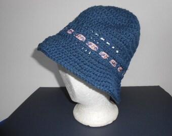 Crocheted Hat size medium, blue