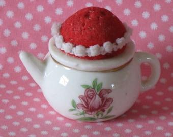 Vintage Ceramic Teapot Pincushion White with Pink Roses