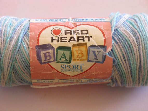 Red Heart Baby Sport Pompadour 3 Ply 6oz Seashore Blues And
