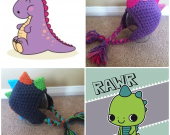Crochet Spiked Dinosaur Beanie/Hat