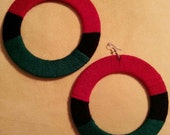 Yarn Wrapped Wood Earrings