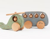 Personalized Wooden Toys set with rustic ornament Bus and Helicopter