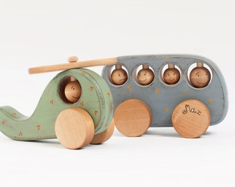 Personalized Wooden Toy Set, Wood Toys for 1 year old, Wood Helicopter Toy and School Bus Toy