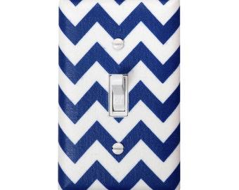Chevron Light Switch Plate Cover / Nursery Decor / Kids Boys Girls Room / Nautical Navy Royal Blue and White / By Slightly Smitten Kitten