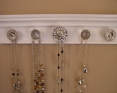 Jewelry organizer White gloss wall jewelry holder rack total /15 inches long 5 knobs