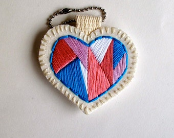 Mini heart ornament embroidered geometric in shades of pinks blue and white colorblock Valentines day