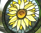 Stained Glass Panel - Sunflower Panel Round - Stained Glass Sunflower - Yellow - Green - Blue - Handcrafted - Made in USA