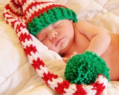 Crochet Red and White Striped  with Green Trim Baby Long Tail Elf Hat - Christmas Photo Prop - made to order
