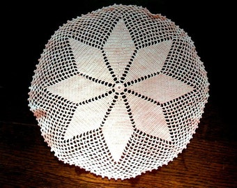 Vintage Doily Hand Crocheted Lace Round 13 Inch