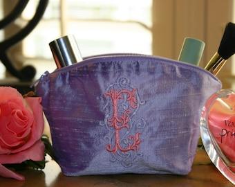 Personalized Dupioni Silk Cosmetic Bag