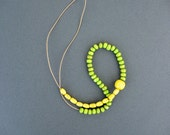 Wooden Necklace. Green And Yellow Necklace, Wood Necklace