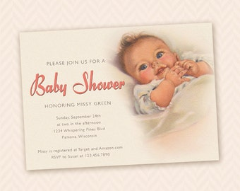 Vintage Baby Shower Invitation - Pink, Blue or custom color!