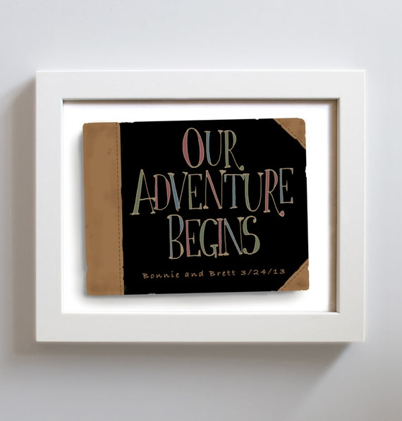 Wedding Gift Ideas For Adventurous Couple : Wedding Gift Idea Art Print Personalized Couples Our Adventure Begins ...