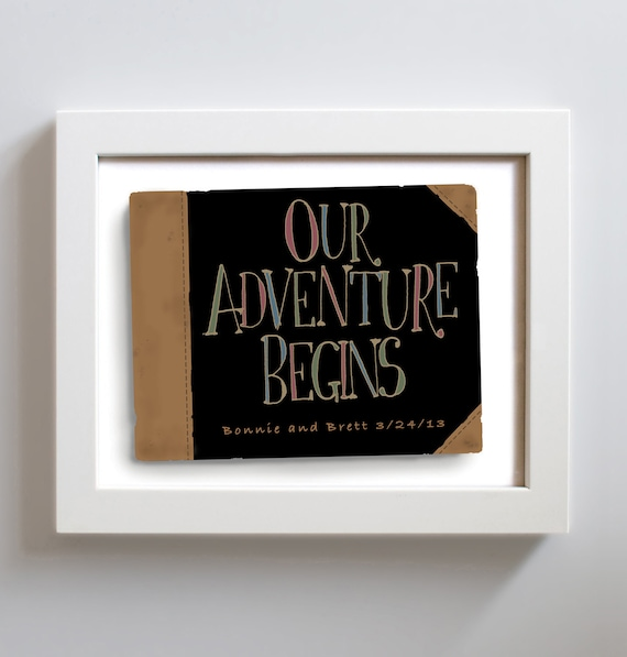 Art Print Wedding Gift : Wedding Gift Idea Art Print Personalized Couples Our Adventure Begins ...