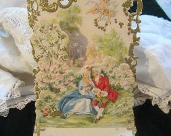 Vintage Valentine Valentines Day Hallmark Card...Cupids Hearts Couple