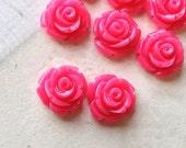 10 mm Hot Pink Color Garden Rose Resin Flower Cabochons (.tc)