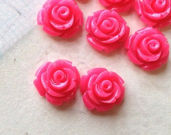 10 mm Hot Pink Color Garden Rose Resin Flower Cabochons (.tc)