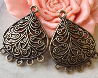 22 x 30 mm Antiqued Bronze (One-Sided) Curved Thick Filigree Connectors (.gm)