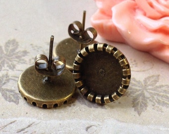 13 mm (fit for 10 mm glass button) Antiqued Bronze Earring Posts With Earring Stoppers. (.sg)