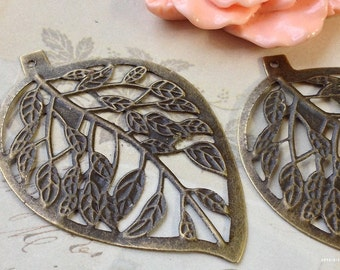 40 x 60 mm Antiqued Bronze Leaf Base Setting (.am).