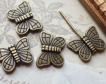 11 x 15 mm Antiqued Bronze Little Butterfly Charms / Connectors (.tg)