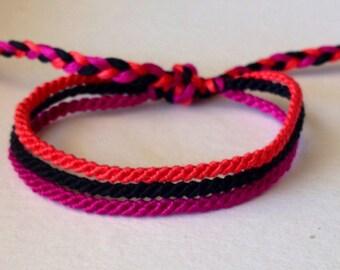 Hot Pink, Bright Orange & Black Thin Friendship Bracelet