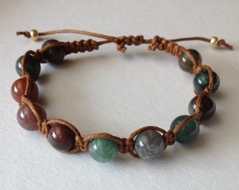 Fancy Jasper Stone Beads on Brown Waxed Cotton Bracelet