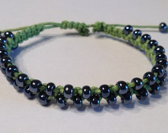 CLEARANCE - Green Waxed Cotton Bracelet with Metallic Gunmetal Seed Beads