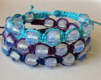 Sea Blue Opalite Stones on Purple, Blue or Aqua Waxed Cotton Cord Bracelet