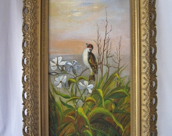 Victorian Oil Painting Bird Gilded Frame