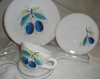 Westmoreland Plum Beaded Edge Fruit Lunch Set Plate Cup Saucer Milk Glass Snack Set Vintage Milk Glass Glassware