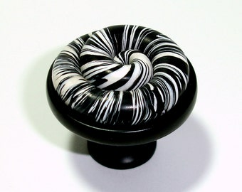 Black & White Spiral Cabinet Knobs by Outrageous Knobs CCB288
