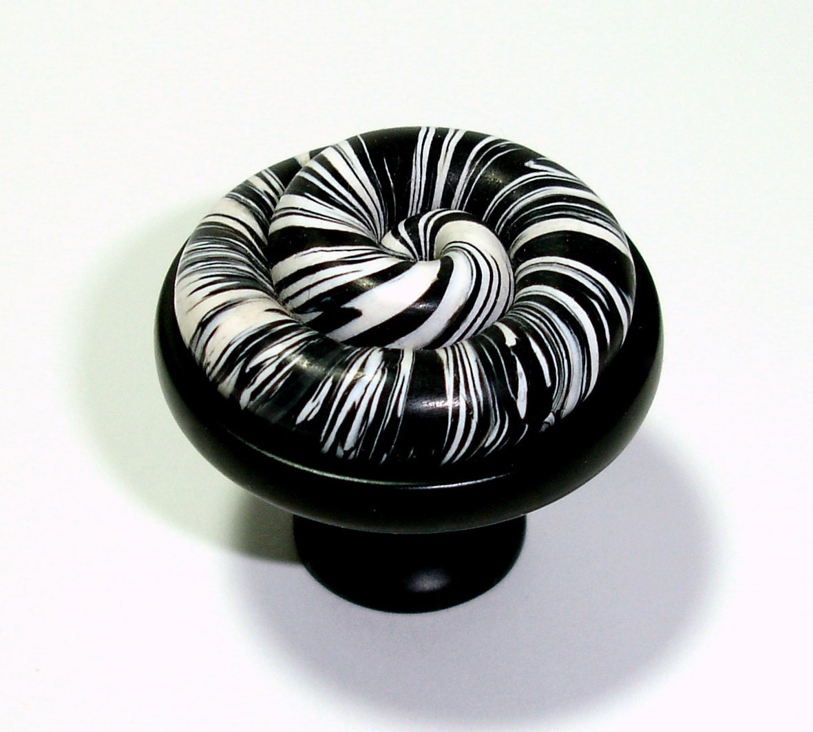 Black white spiral cabinet knobs by outrageous knobs ccb288 Black knobs on white cabinets