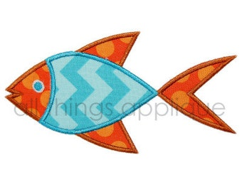 Fish Applique Design - Satin AND Raggy - INSTANT DOWNLOAD