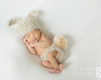Newborn Bunny Hat & Diaper Cover Photo Prop