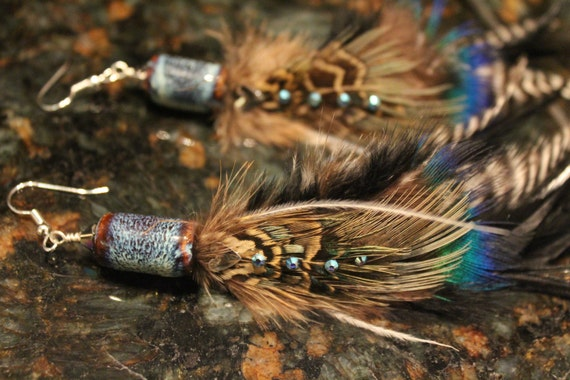 Sapphire Feather Earring Blue Rooster Grizzly Hackle Peacock Feather Gift For Her High Fashion Hippie Bohemian Wedding Handmade Earrings
