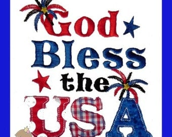 God Bless the USA Embroidery design