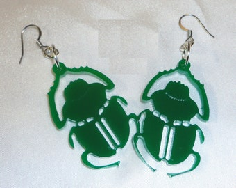 GREEN SCARAB BEETLE Acrylic Earrings Punk Emo Steam