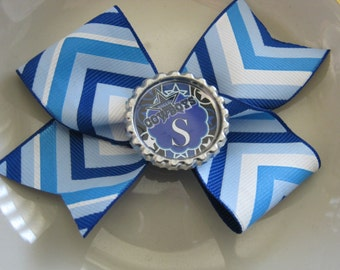 Momma Eva's -- PERSONALIZED Cowboys Inspired PinWheel Hair Bow // Medium 3 inch Bow Style // YoU CHOOSE The Initial