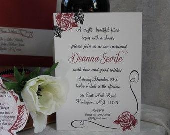 Elegant Rose Wedding Shower Invitation