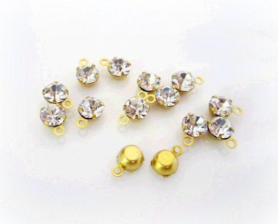 Rhinestone Drops -- Rhinestone Charm-- 5MM Gold Glass --- 20 pcs