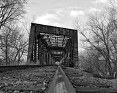 """Industrial Art Photography Print - railroad bridge tracks perspective wall art """"Follow"""" / custom sizes and canvas wraps available"""