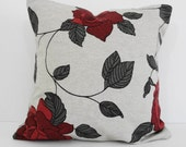Decorative Pillow Cover, Rose, Charcoal, Pillow Cushion, 14 x 14
