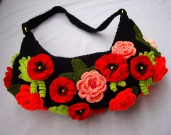 Crochet Handbag Roses and Poppies Handmade Purse